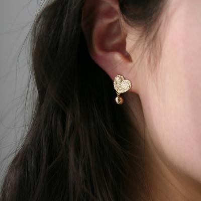 lace heart ball earrings (2colors)