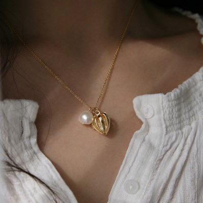 romantic heart pearl necklace (2type)