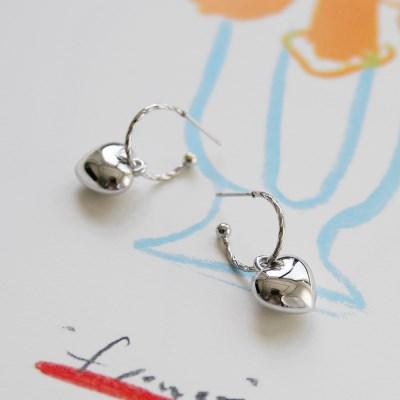 plump heart earrings (2colors)