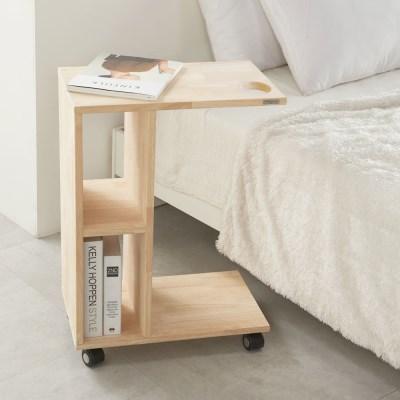 원목 이동식 사이드 테이블 베드테이블 간이책상