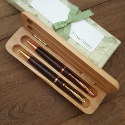 카퍼 & 골드 펜 세트, 수제 원목 펜, 이니셜 각인 무료
