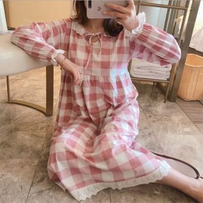 피치기모 체크 리본 러블리 롱 원피스 잠옷