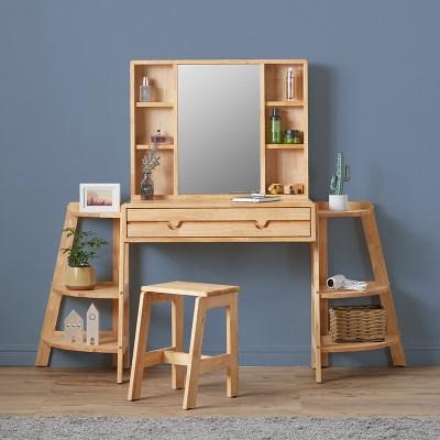파샤 원목 수납 거울 화장대 B형 + 화장대 의자_(1397781)