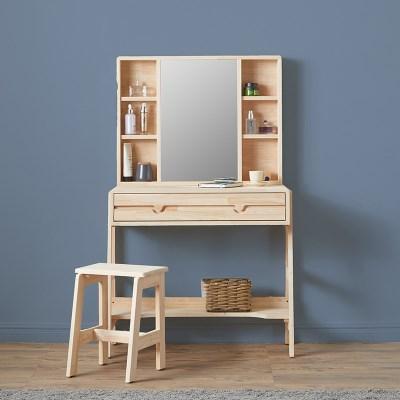 파샤 원목 수납 거울 화장대 A형 + 화장대 의자_(1397782)