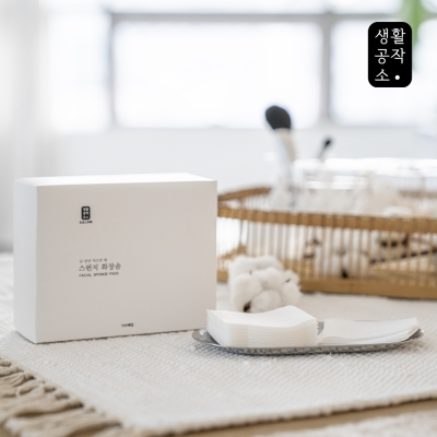 [생활공작소] 스펀지 화장솜 100매 x 1개