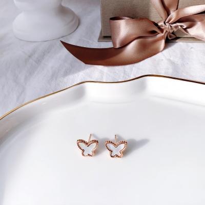 미니 나비 자개 장식 로즈골드 데일리 귀걸이(2color)_블루밍캑터스