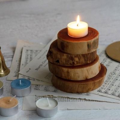 두껍고 견고한 참죽나무 우드 코스터 / 캔들 컵 화분 디퓨져 받침