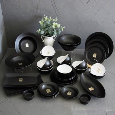 로얄킴스6인32p홈세트(블랙) / 신혼 북유럽 도자기 그릇 식기 홈