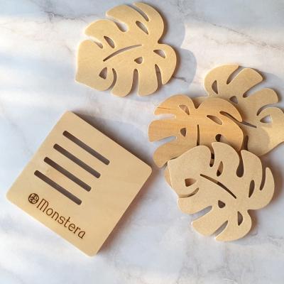 포코 자작나무 몬스테라 우드코스터 티코스터 원목 컵받침 세트