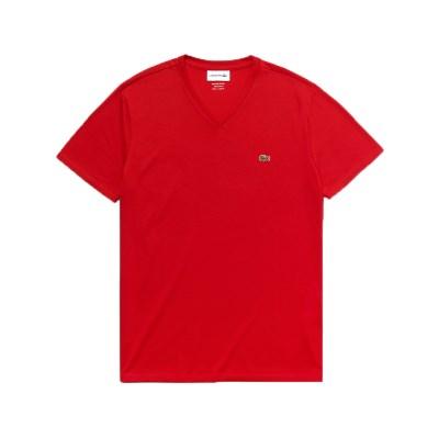 라코스테 브이넥 반팔 티셔츠 (LACOSTE TH6710_240 red)_(810216)