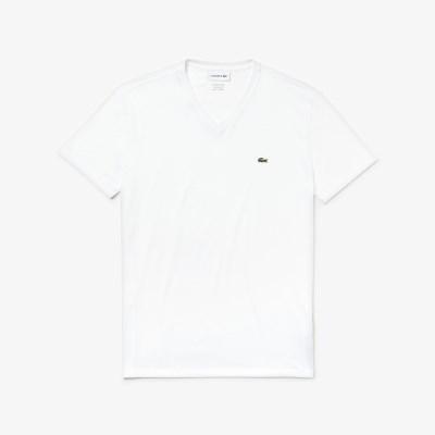 라코스테 브이넥 반팔 티셔츠 (LACOSTE TH6710_001 whit_(810215)