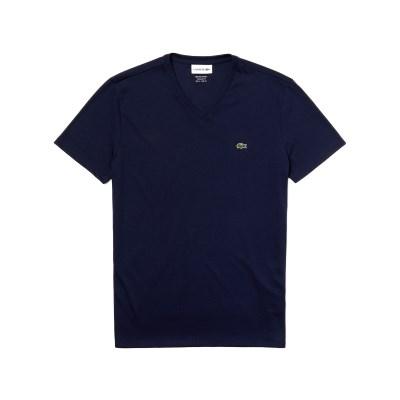 라코스테 브이넥 반팔 티셔츠 (LACOSTE TH6710_166 navy_(810213)