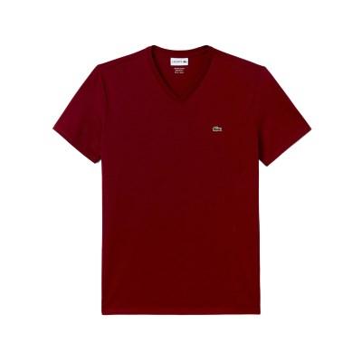 라코스테 브이넥 반팔 티셔츠 (LACOSTE TH6710_476 bord_(810212)