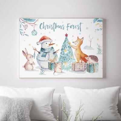 크리스마스 트리 겨울 인테리어액자 _ 숲속 파티 5분전