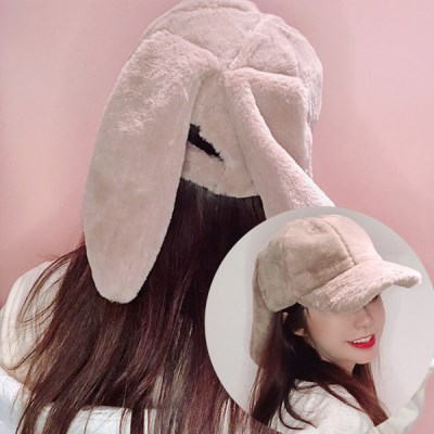 크롱 포근한 토끼귀 퍼 볼캡_(2295044)