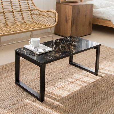 블랙골드마블 스틸 800 네모 좌식 테이블 /좌탁/소파테이블