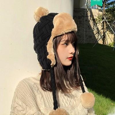 코아 방울 털 방한 군밤 모자_(2298516)