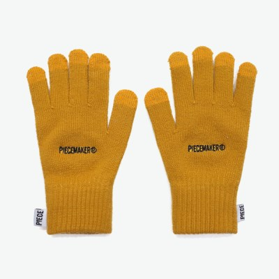 BASIC LOGO SMART GLOVES (MUSTARD)_(401044372)