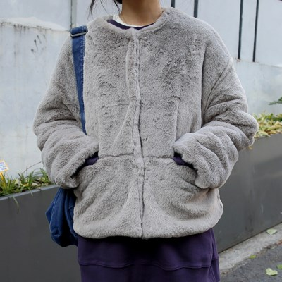 soft round fur jacket (2colors)_(1405289)