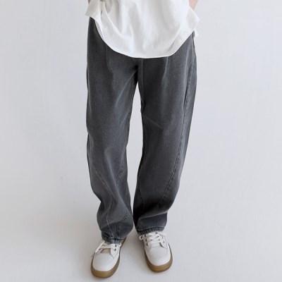 pintuck stitch baggy pants (black)_(1402776)