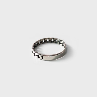 (92.5 silver) black chain ring