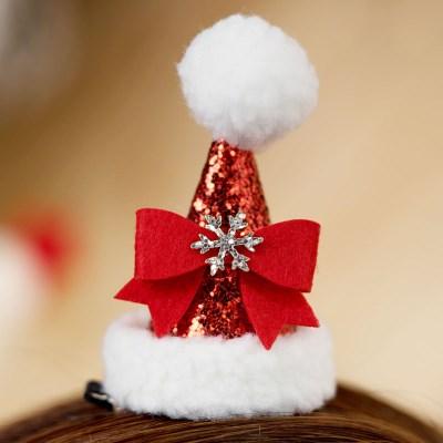 크리스마스 머리핀 산타모자 [리본]_(11902214)