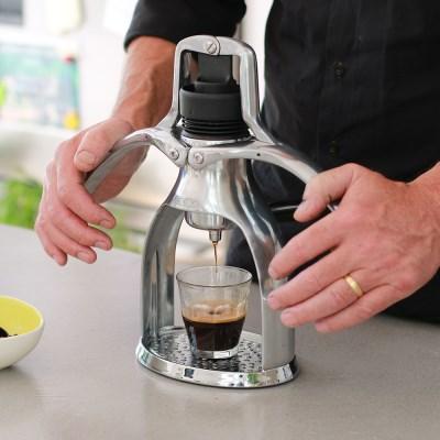 전기가 필요 없는 수동 ROK GC 실버 에스프레소 커피머신