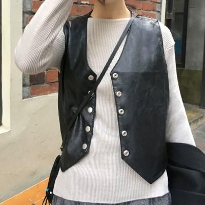 matt leather hard vest (2colors)_(1407014)