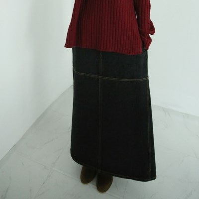 layered point denim skirts_(1406132)