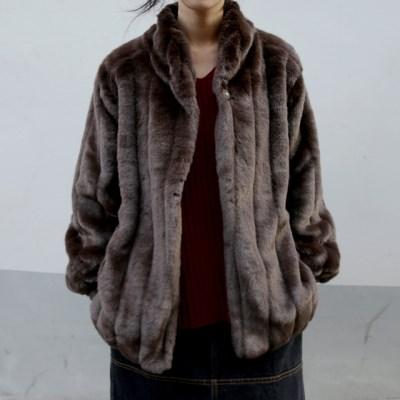 fluid fur jacket (brown)_(1406128)