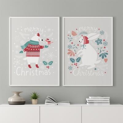 크리스마스 소품 아이방 액자 _  메리베어 와 메리래빗