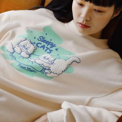 NEONMOON Sleepy Cats Sweat shirt IVORY