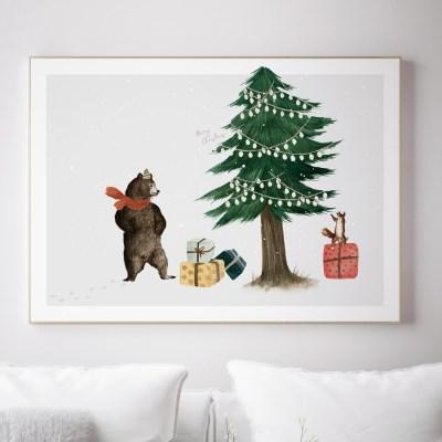 크리스마스 트리 겨울 인테리어액자 _ 즐거우시 곰