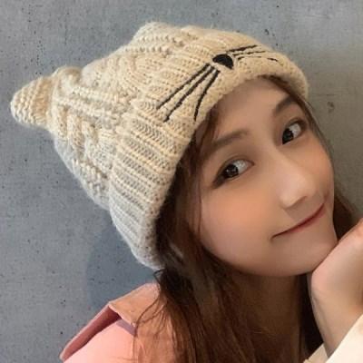 로잉 겨울 고양이귀 니트 비니_(2302612)