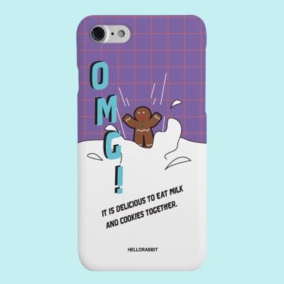 [헬로래빗]우유에빠진쿠키 퍼플 하드 핸드폰 케이스