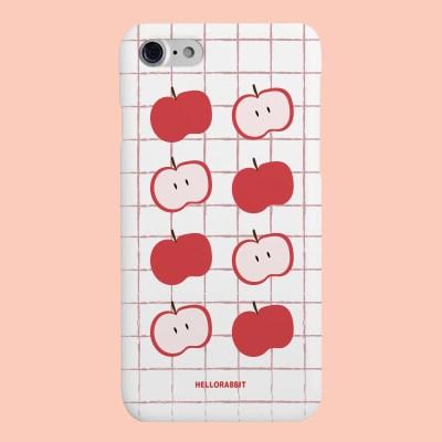 [헬로래빗]체크사과 패턴 하드 핸드폰 케이스
