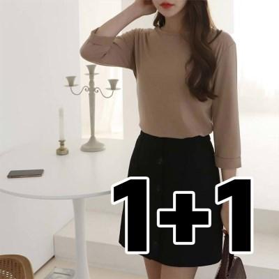 [1+1] 여성 가을 컬러 베이직 롤업 7부 티셔츠