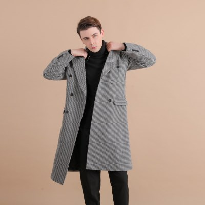 [THE MASTER] 남성 하운즈투스 체크 블랙 더블 코트