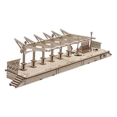 196피스 목재 입체퍼즐 - 유기어스 증기기관차 플랫폼_(2221012)