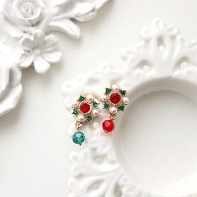 [우아한 공방] 포인세티아 크리스탈 귀걸이
