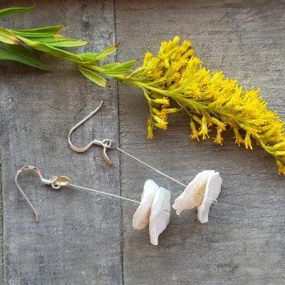 네추럴진주 나뭇잎장식 귀걸이