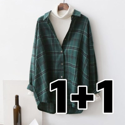 여성 타탄 체크 언발란스 루즈핏 카키 셔츠