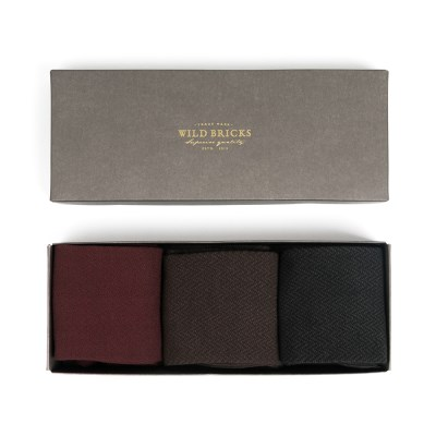 HERRINGBONE DRESS SOCKS SET (burgundy/brown/black)