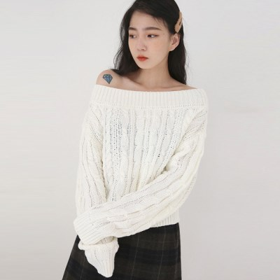 fill cable off-shoulder knit_(1411001)
