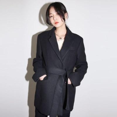 chic belt wool short jacket_(1410991)