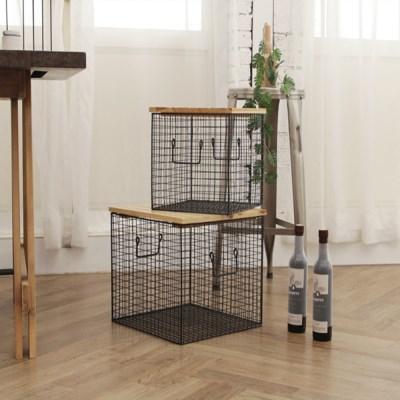 모던 원목 사각 철제 수납테이블 Set