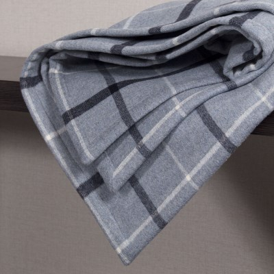 Blue Gray Check Wool Blanket