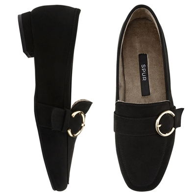 SPUR[스퍼] 로퍼 OF8068 Pluffy buckle loafer 블랙