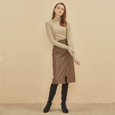 LEATHER H SKIRT BROWN