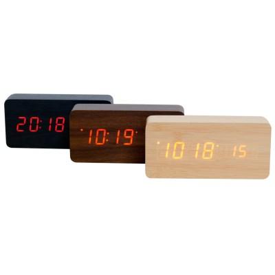 우드 LED 무소음 디지털 탁상시계 직사각형 브라운-레드